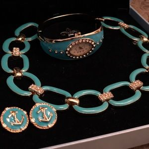 Jewelry - Bella & Rose Turquoise Watch,Necklace, Earring Set